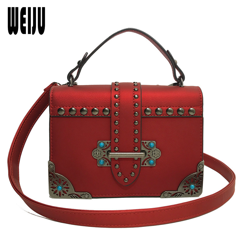 WEIJU Factory Price! Vintage PU Leather Women Messenger Bag Female Crossbody Bags Colorful Rivet Shoulder Bags New Small Flap cuckoobird fashion women s messenger bag small flap crossbody bags vintage spring women shoulder bag blue leather women bag