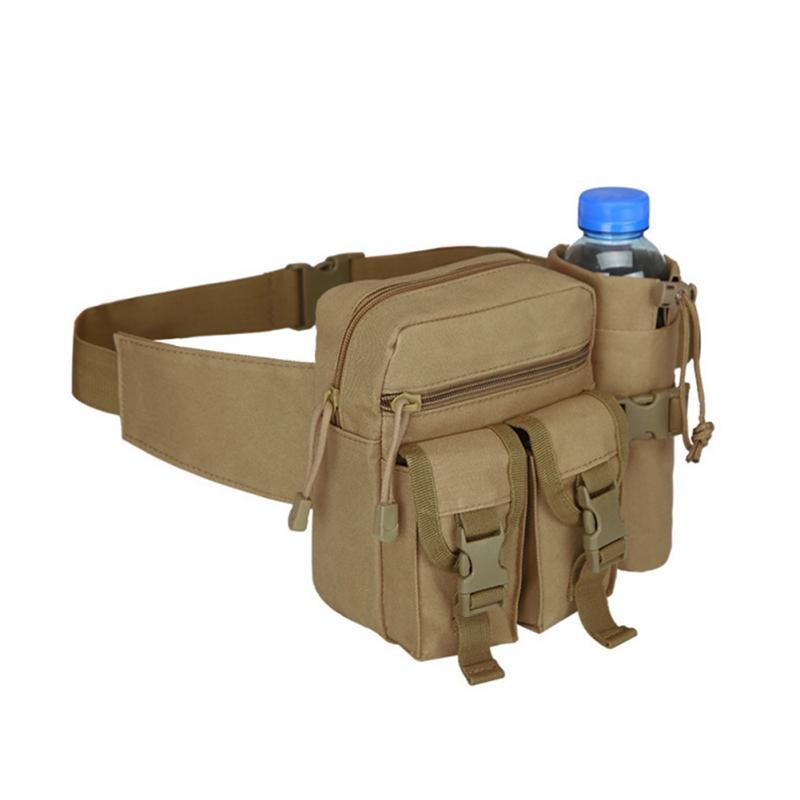 Durable Nylon Material Tactical Unisex  Belt Bag Military Travel Hiking Running Water Bottle Adjustable Belt Fanny Waist Bag