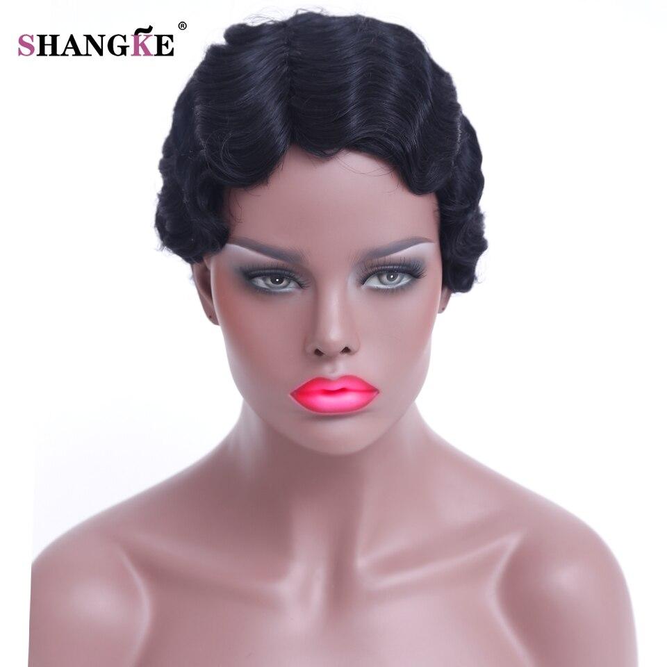Shangke волосы короткие вьющиеся Искусственные парики для Для женщин короткие афроамериканца Искусственные парики Для женщин жаропрочных волос