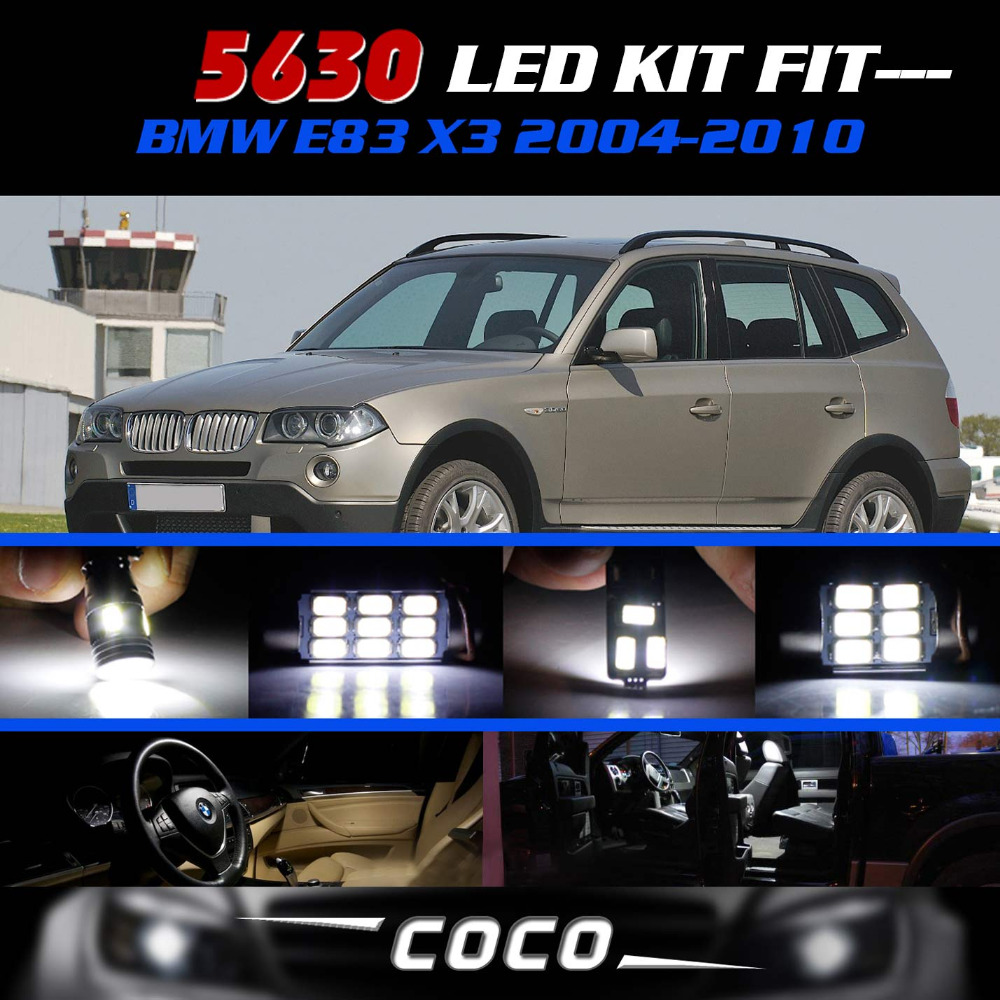 ФОТО 20pcs White LED Lights Interior Cargo Area Package Kit CANBUS Error Free 5630 5730 SMD For BMW E83 X3 2004-2010 #81
