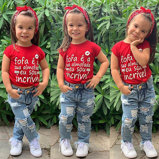 Летняя одежда для маленьких девочек Футболка с буквенным принтом для маленьких девочек топы + джинсовые штаны, комплект одежды, 2019