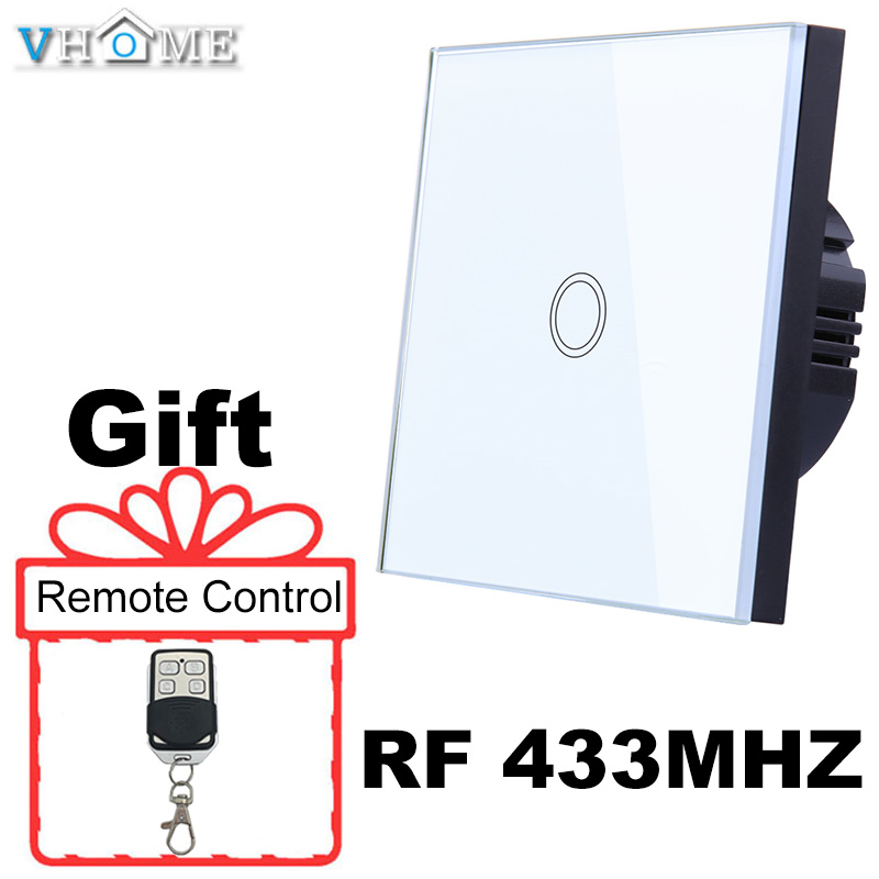 Vhome LED Light Touch Switch Rf Glass Panel Smart Remote Control Switch EU Type 220V For Smart Home Light LED Sensor Switches