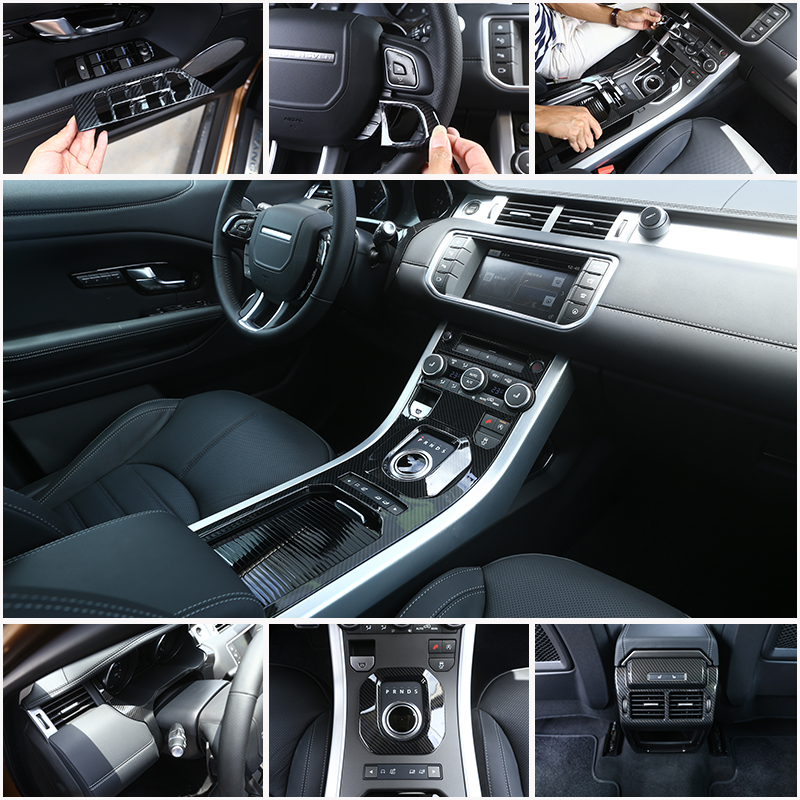 Carbon Fiber ABS Plastic Car Accessories For Land Rover Range Rover Evoque 2012-2017 Inner Moldings Cover Trims Auto Parts silver black side fender sticker for land rover range rover evoque 2011 2016 abs chrome car accessories