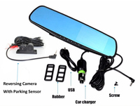 3in1 Video Parking Assistance Sensor Backup Radar Car Rear View Camera + 4.3 inch TFT Car Rearview Mirror Monitor Video Parking