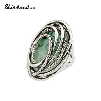Shineland 2020 New Arrival Women Fashion Vintage Antique Silver Color Resin Statement Rings Men Steampunk Style Charm Jewelry