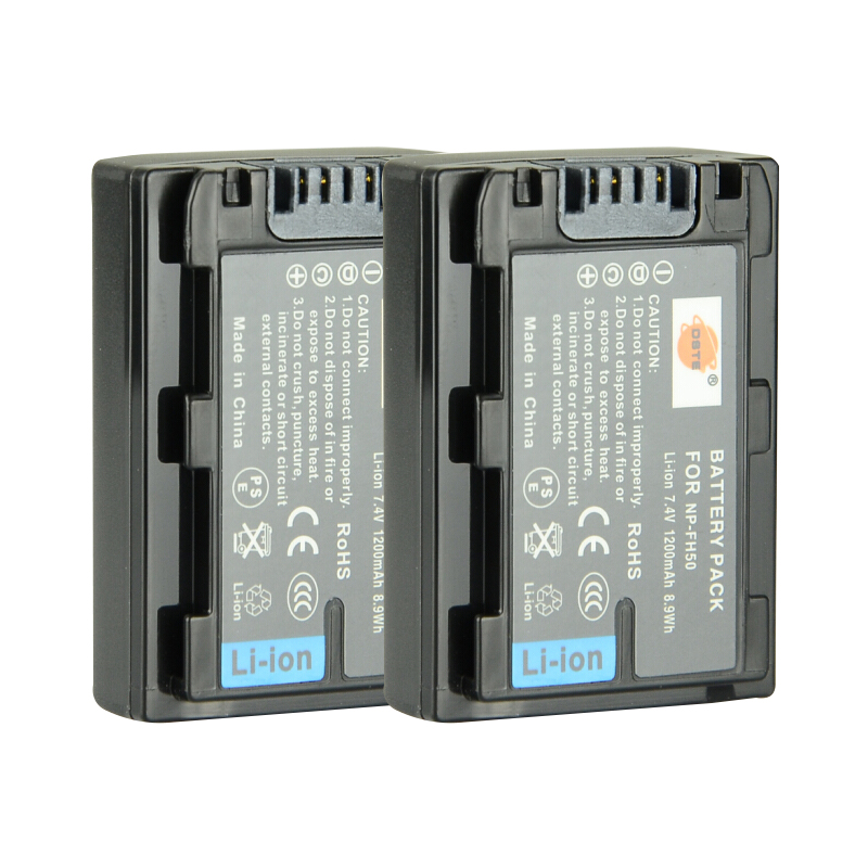 Dste 2 unids NP-FH50 batería recargable para Sony A230 A290 A390 DSC-HX1 HX100 HX200 HDR-TG1E TG3 TG5 TG7 Cámara