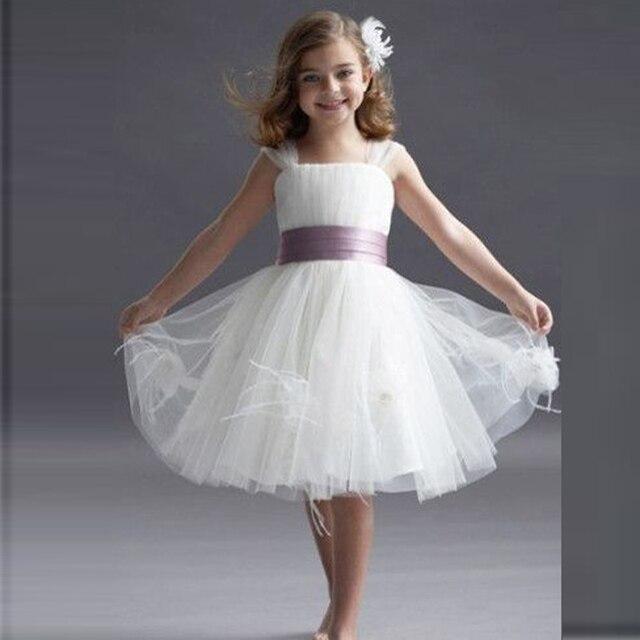 04b0fda11969d White Cute Flower Girl Dresses With Purple Ribbons robe de communion fille  blanche Knee-Length A Line Tulle Flower Girls Dresses