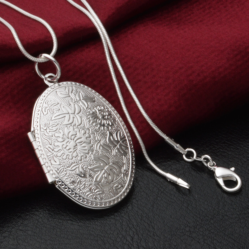 2015 New Fashion Vintage Photo Locket Pendant Necklace 925 Sterling Silver Jewelry Necklaces & Pendants Women Gift Free Shipping gold earrings for women