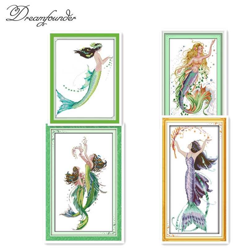 The mermaid cross stitch kit aida 14ct 11ct count printed canvas stitches embroidery DIY handmade needlework