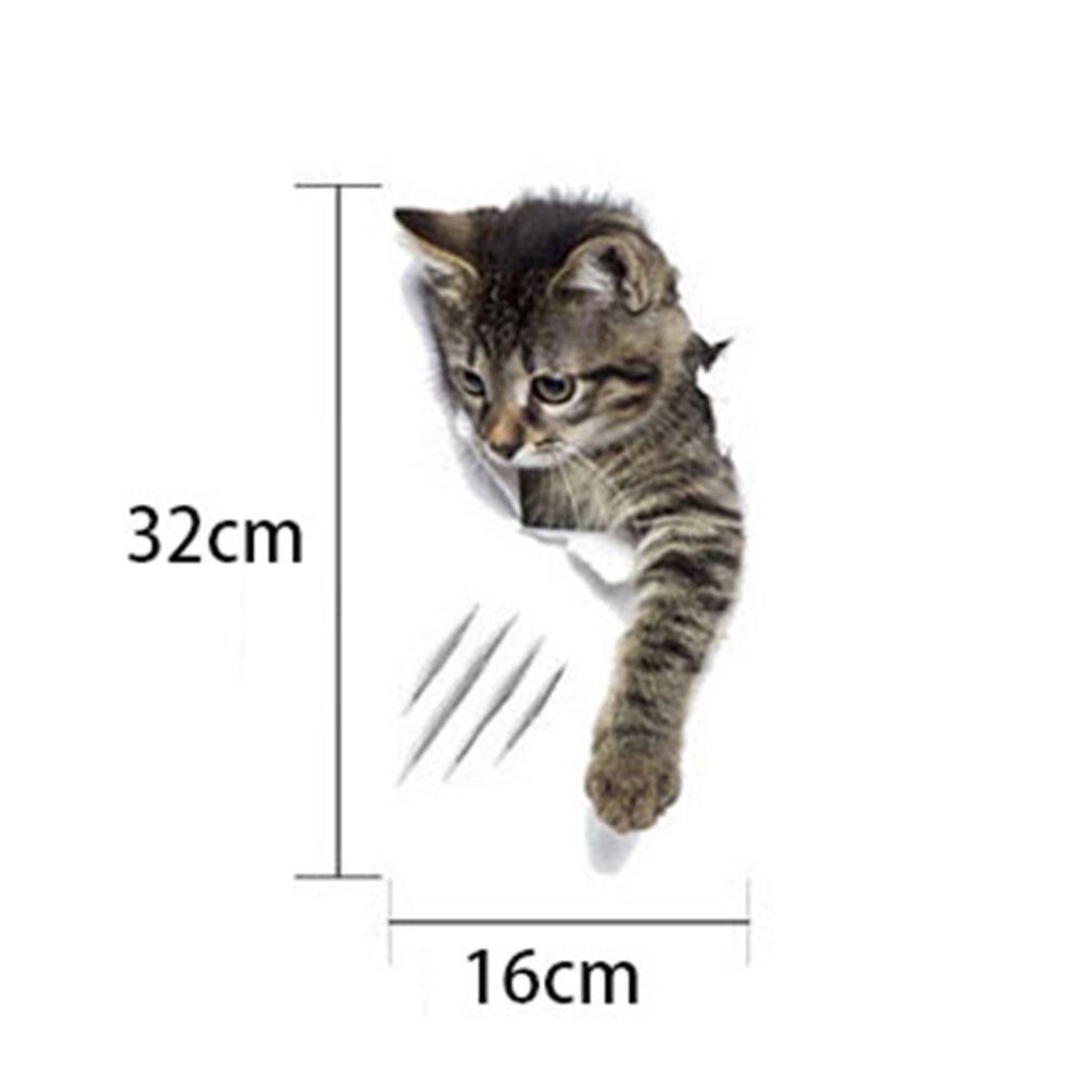 """1 шт. 3D милые наклейки """"сделай сам"""" с котом, наклейки на стену для всей семьи, украшения для окна, комнаты, ванной комнаты, унитаза, декоративные кухонные аксессуары - Цвет: 32 x 16 cm-20"""