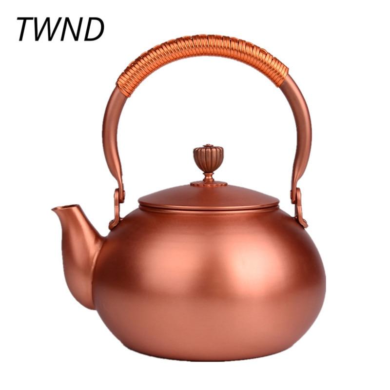 Miedź czajniczek japonia styl dzbanek do herbaty z filtrem metalu duża pojemność czajnik do picia garnitur ogień elektryczny kuchenka na alkohol 50 w Dzbanki do herbaty od Dom i ogród na  Grupa 1