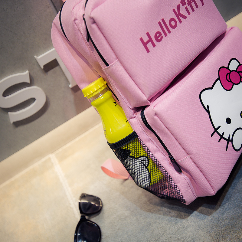 Hello Kitty lovely Pink Canvas Backpack for girls school satchel lady s travel casual laptop bag