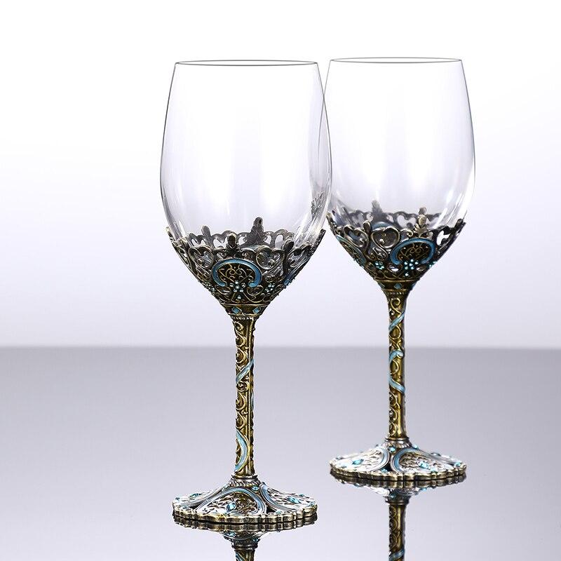 2 pièces 350 ml vin verre à boire carafe rouge Linde émail cristal verre rouge vin ensemble gobelet cadeau boîte Champagne whisky verre