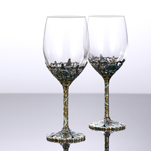 2pcs 350ml Wine Glass Drinking Decanter Red Linde Enamel Crystal Glass Red Wine Set Goblet Gift box Champagne Whiskey glass стоимость