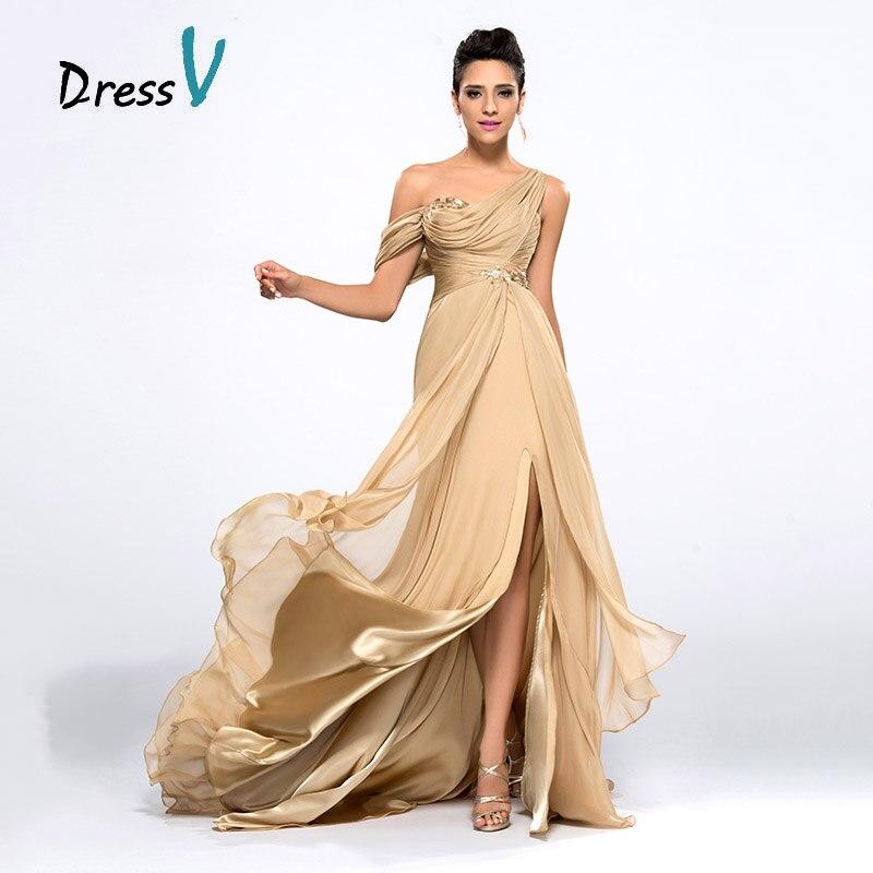Dressv Cheap Champagne   Evening     Dresses   2017 Draped One Shoulder Long Chiffon Prom   Dresses   Robe de Soiree Formal Party   Dresses