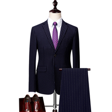 Loldeal Men Suit 2 Pieces  Breasted Suits Navy Striped Tuxedo Wedding for Slim Fit tuxedos (Jacket+Pants)