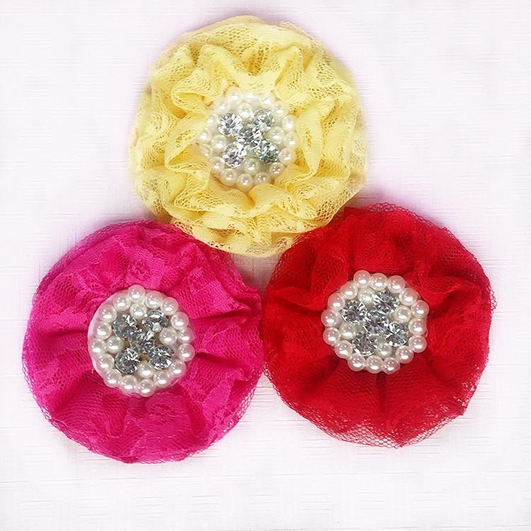 60 шт./лот, 8 см ''с жемчугом и стразами кружево цветы для оголовье