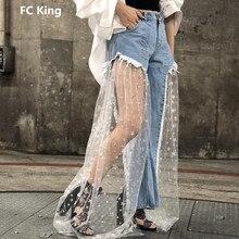 FC rey 2018 nueva moda verano Vaqueros Mujer Sexy malla perspectiva  estrella Patchwork mujeres Jeans de alta calidad Patchwork P.. 9565e0e57ba