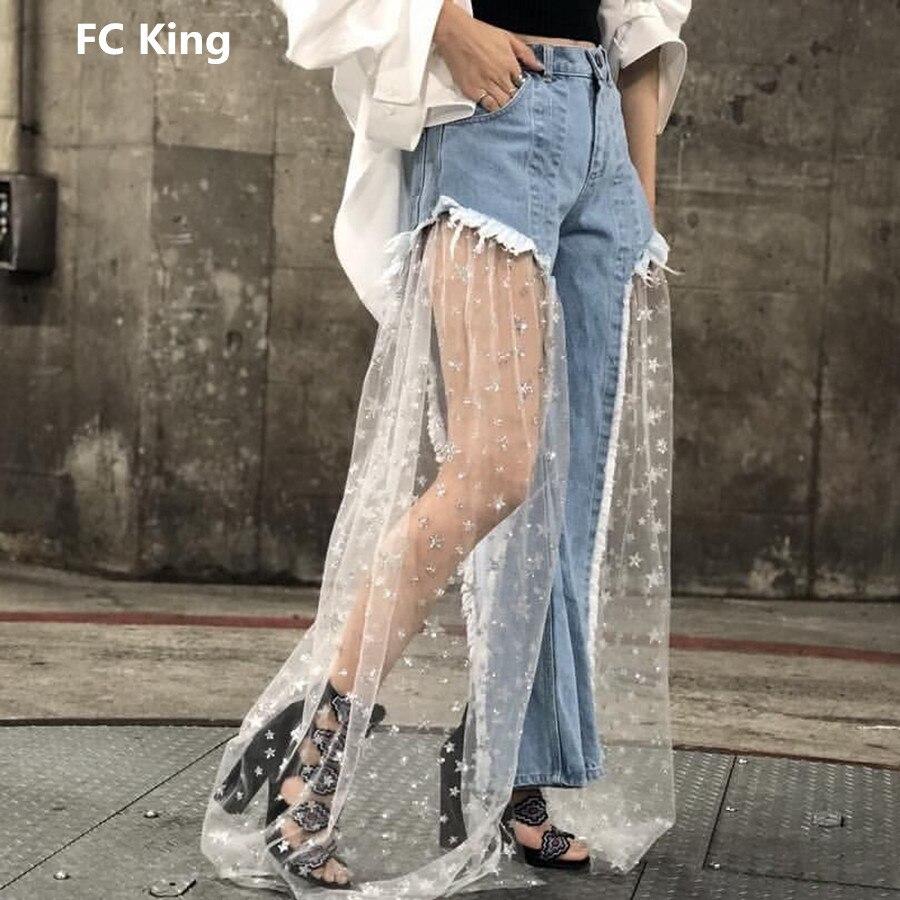FC Roi 2018 nouvelle mode jeans d'été femmes Sexy Mesh Perspective Étoiles Patchwork jeans pour femmes qualité supérieure Patchwork pantalon