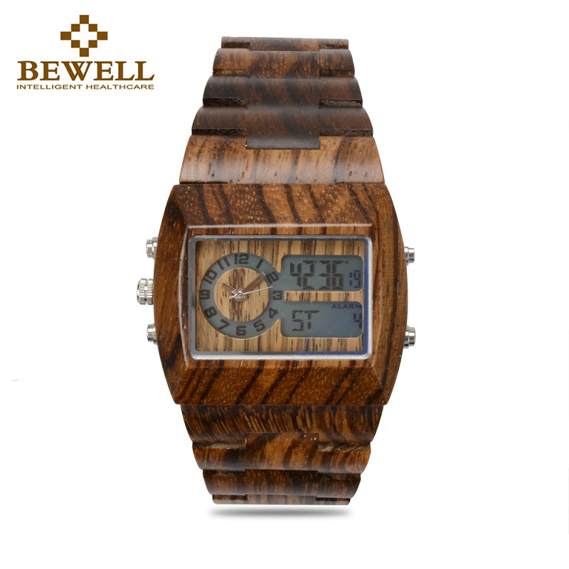 BEWELL Man Dress Quartz Watch With Men's Handmade Brand Design Wooden Watch Luxury Edition Digital Men Wooden Clock 021A bewell multifunctional wooden watches men dual time zone digital wristwatch led rectangle dial alarm clock with watch box 021a