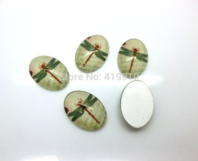 Aliexpress buy 20pcs dragonfly light green oval glass dome 20pcs dragonfly light green oval glass dome cabochon flat back 25x18mm for tray pendant cover m0643 aloadofball Gallery