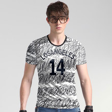 American style messy lines printing fashion slim high-end t shirt Summer new arrival ice silk quality t shirt men M-5XL 80709C