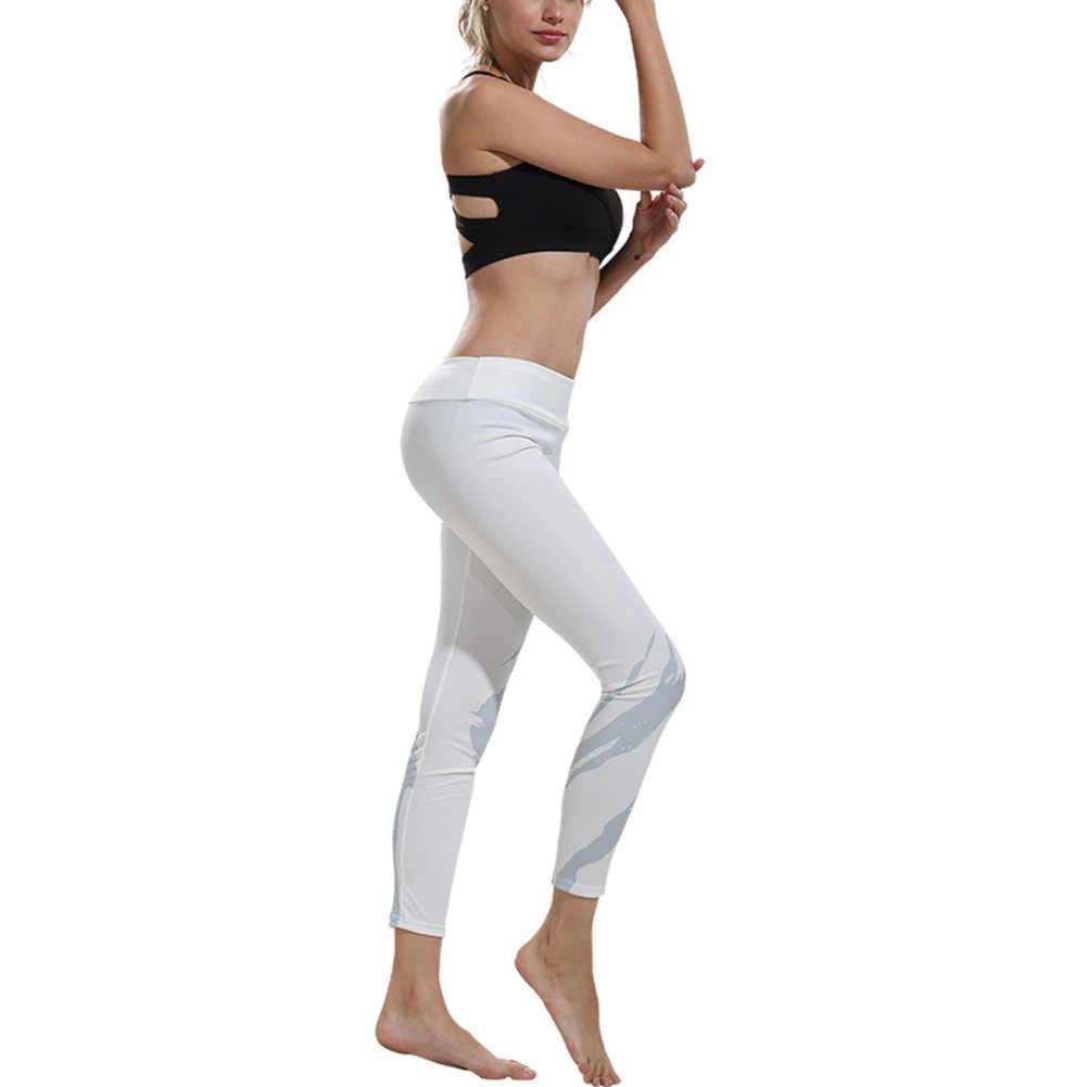 HOT kobiety joga spodnie w kolorze białym z nadrukiem do biegania spodnie dresowe Pilates taniec fitness legginsy HV99