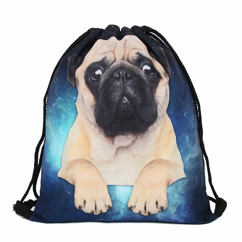 Cute Dog Drawstring bag for Girls Travel Storage Package Cartoon School Backpacks Children Birthday Party mujer