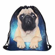 Cute Dog Drawstring bag for Girls Travel Storage Package Cartoon School Backpacks Children Birthday Party mujer mochila gift