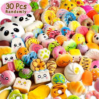 10Pcs\30 Pcs Squishy Slow Rising Adorable Bread Cake Bun Pendant Donut Charm Squishies Toy Squeeze Toys,Stress Relief Toy