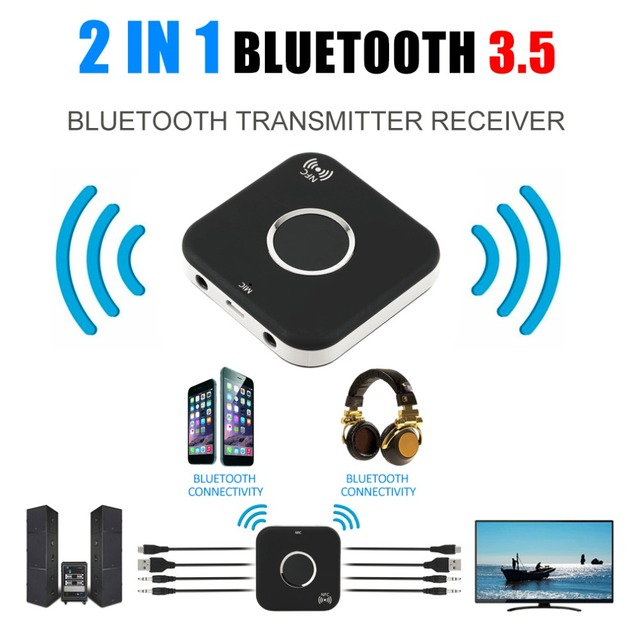 Professional Bluetooth 2 In 1 Audio Receiver Transmitter 3.5mm Stereo Audio Port Support For Aux Out Earphone