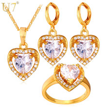 U7 Cubic Zirconia Wedding Jewelry Sets For Women 18K Gold /Platinum Plated Love Heart Earrings Ring Necklace Set For Women S725 fym clear white cubic zirconia jewelry sets yellow gold plated crystal pendant necklace earrings ring sets for women wedding