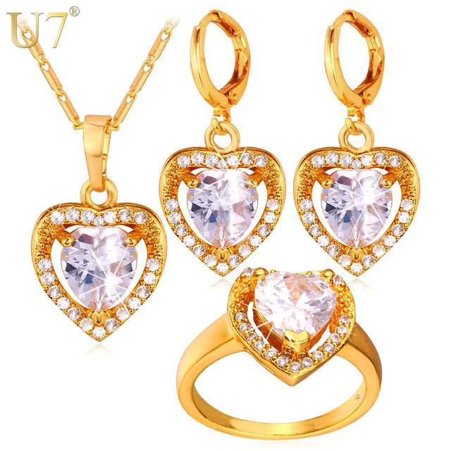 U7 Cubic Zirconia Wedding Jewelry Sets For Women Gold/Silver Color Love Heart Earrings Ring Necklace Set For Women S725