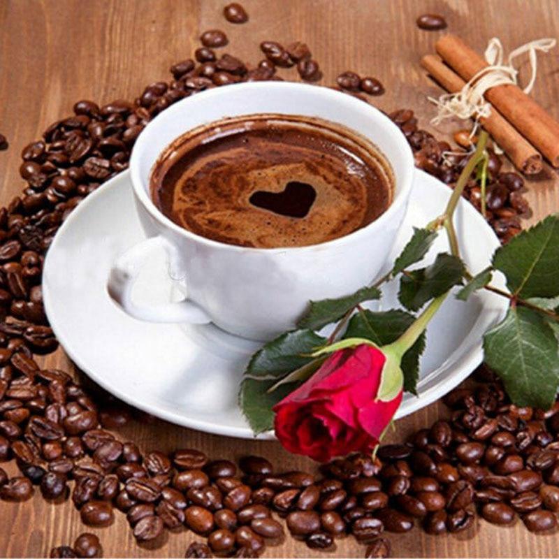 Kaffee & Rose Blume, Hochzeitsdekoration, Handarbeit, 5D Diy Diamant-Malerei, Inneneinrichtungen, Diamant-Malerei-Kreuzstich, Geschenk