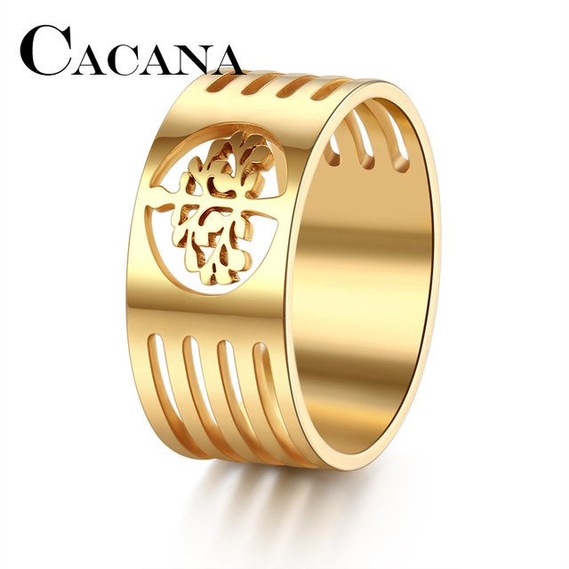 CACANA HIP Punk Gold Color 316L Stainless Steel Wisdom Tree Rings For Men Jewelr