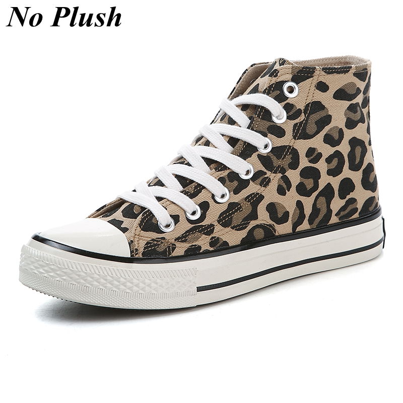 2019 Fashion Leopard Women Casual Shoes Autumn Winter High top Canvas Shoes Women Sneakers Ladies Lace up Flats zapatos de mujer in Women 39 s Vulcanize Shoes from Shoes