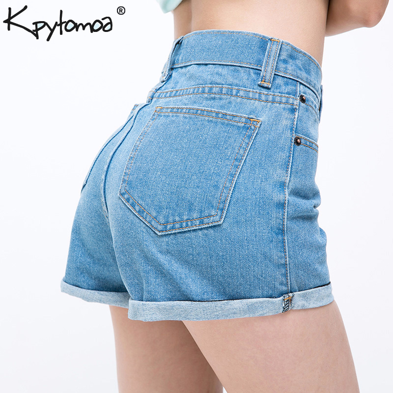 Vintage High Waist Crimping Denim Shorts Women 2019 Europe Style New Fashion Brand Slim Casual Femme Short Jeans Mujer Plus Size