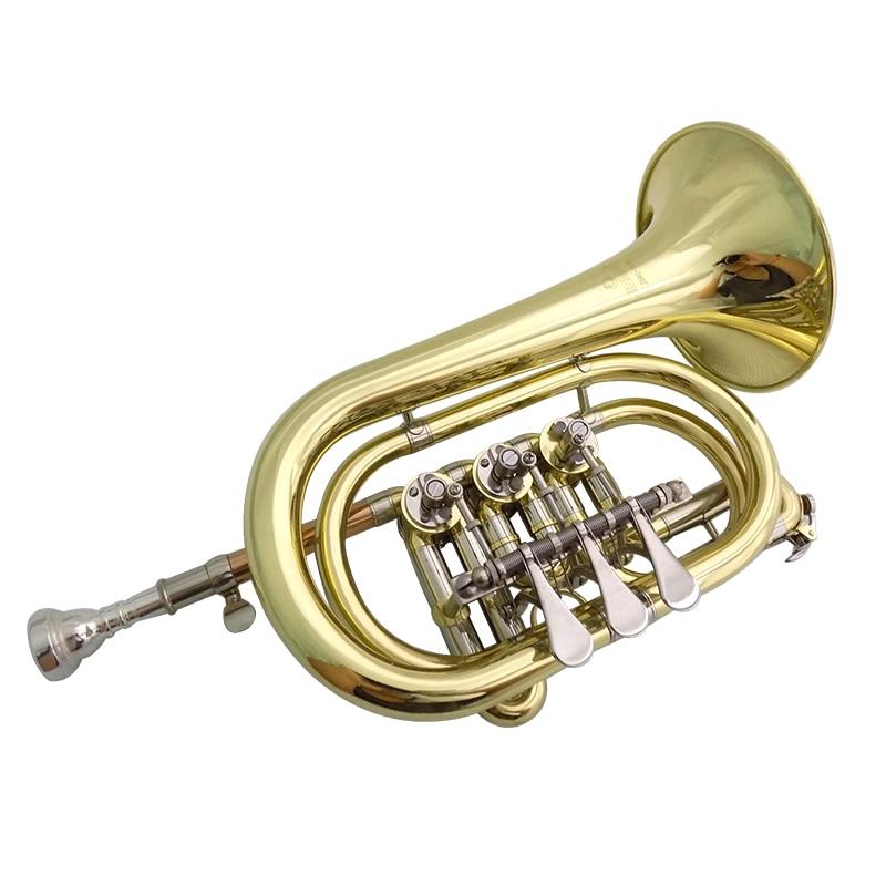 Bb Rotary Cornet Lacquer Finish Geelkoperen cornet trompet met harde - Muziekinstrumenten - Foto 3