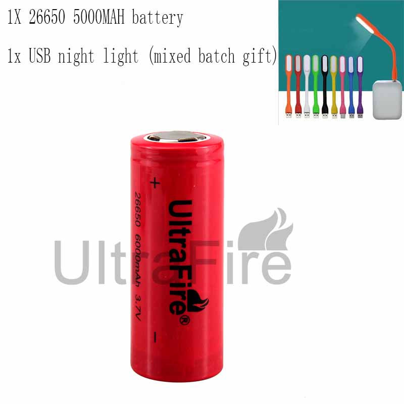 UltraFire 26650 3.7V 6000mAh Rechargeable Lithium Battery Without Pro Torch Lantern Charging Bank Battery Luz USBLED Night Light