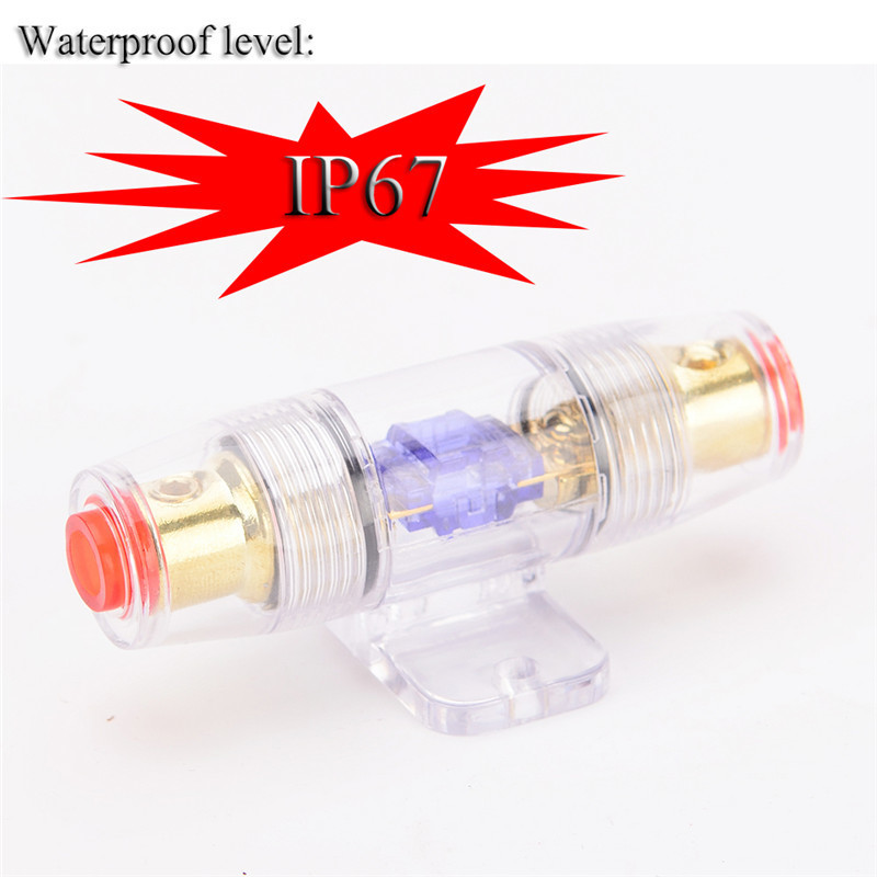 Hot <font><b>60A</b></font> <font><b>Fuse</b></font> <font><b>Holder</b></font> IP67 Waterproof For Car Vehicle In Line Amplifier Power Gold Plated image