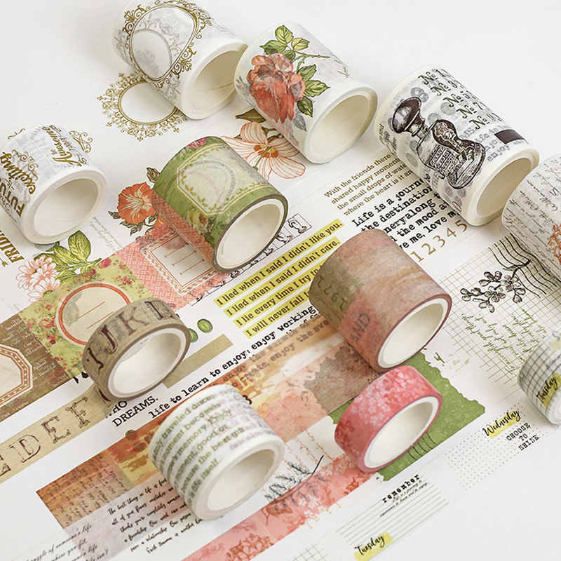 1-6cm*5m Vintage Newspaper Flower Washi Tape DIY Decoration Scrapbooking Planner Masking Tape Adhesive Tape Label Sticker