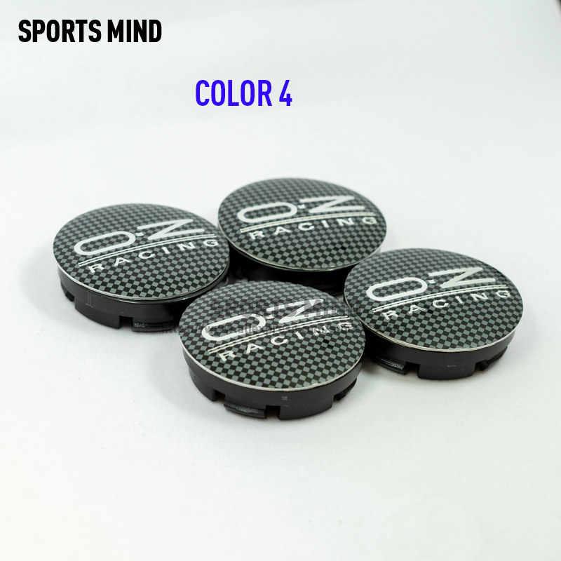 4 pièces/lot 7 couleurs 56MM OZ voiture de course roue Center moyeu casquettes Badge emblème autocollant décalque roue anti-poussière couvre Badge logo