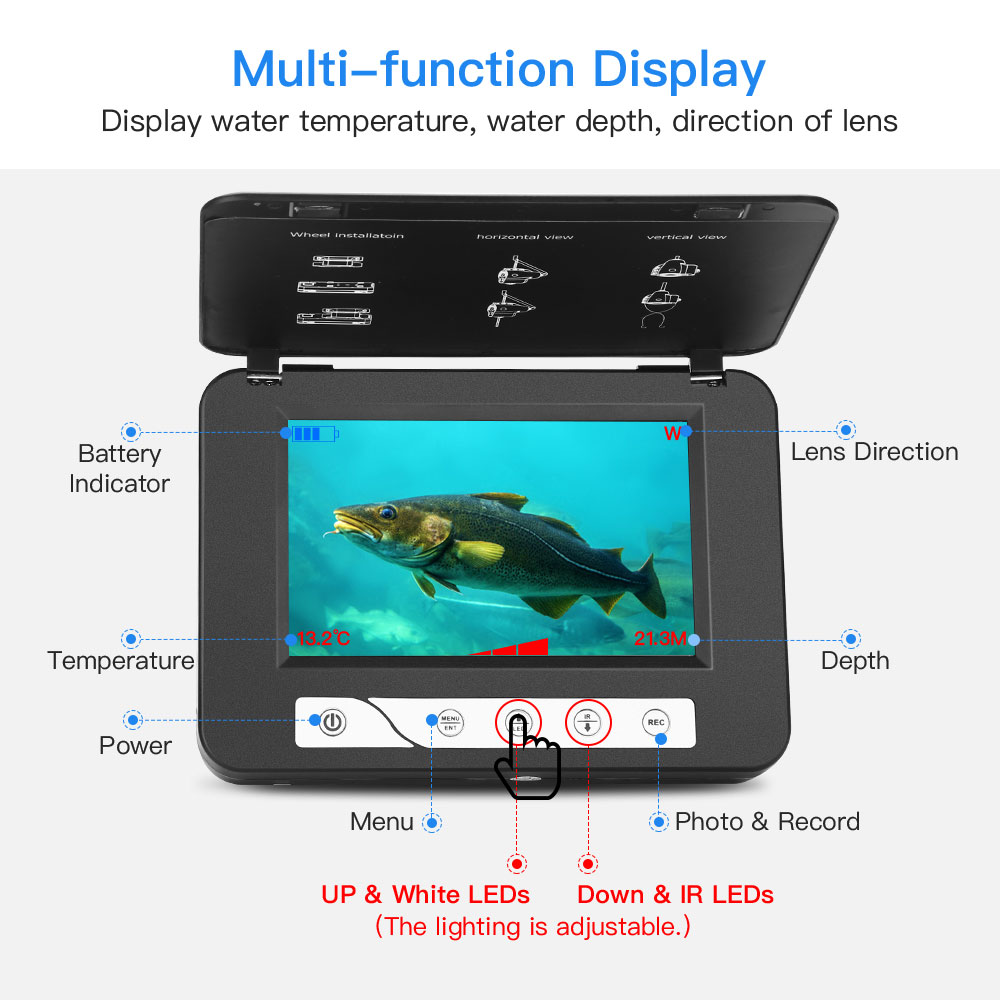"""Image 3 - Eyoyo Waterproof DVR Fish Finder 5"""" Monitor Video Camera 1000TVL Underwater Ice Fishing 4pcs Infrared+2pcs White Leds Fishfinder-in Fish Finders from Sports & Entertainment"""