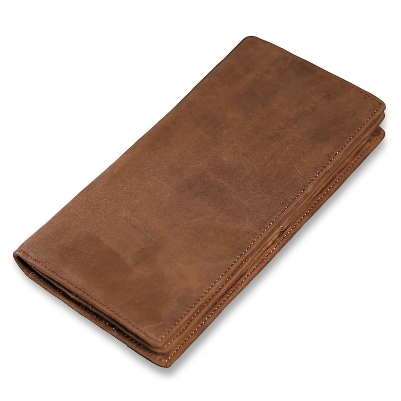 Vintage Cowhide Male Wallet Genuine Leather Men Long Purse Multi Card Slots Man Credit card Holder With Zipper Pocket PR079024-in Wallets from Luggage & Bags    1