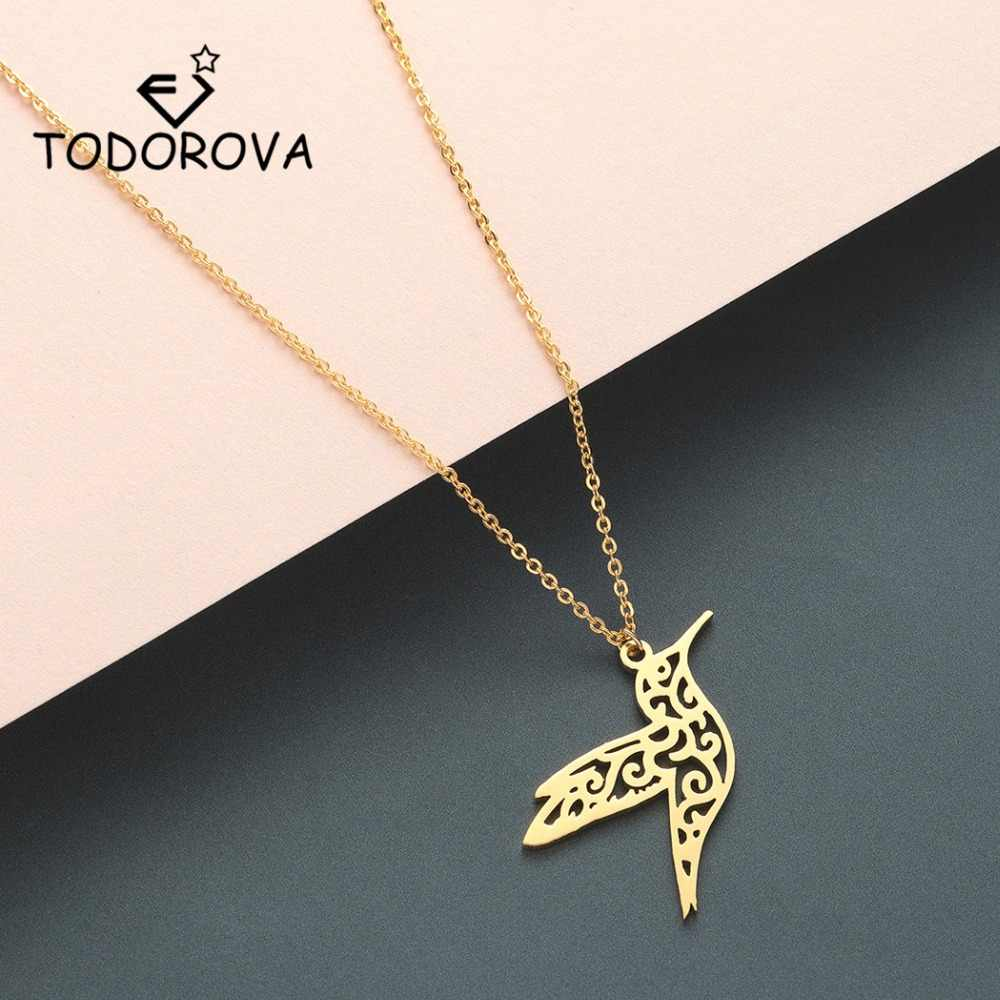 Todorova Origami Animal Necklace Hummingbird Necklace Flying Birds Necklace Pendant Long Chain Necklace Party Accessories