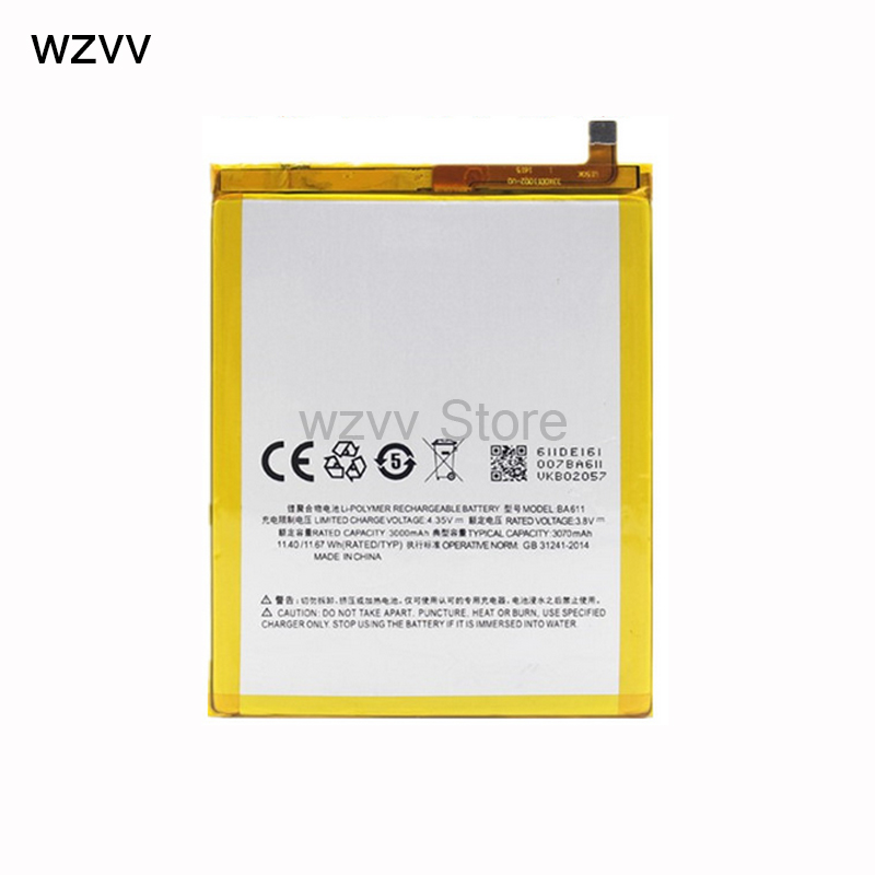 wzvv 100% Original 3070mAh BA611 Battery for Meizu M5 Meizy Meilan 5 phone Battery + Tracking Code