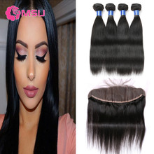 HJ Weave Beauty Hair with Frontals 10A Cambodian Virgin Hair Straight 4 Bundles Human Hair Weave with Frontal Closure Ear to Ear