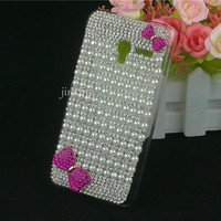 Luxury Transparent Bling Pearl Style Diamond Cartoon Pattern Smart Phone Case Cover For Alcatel POP 3