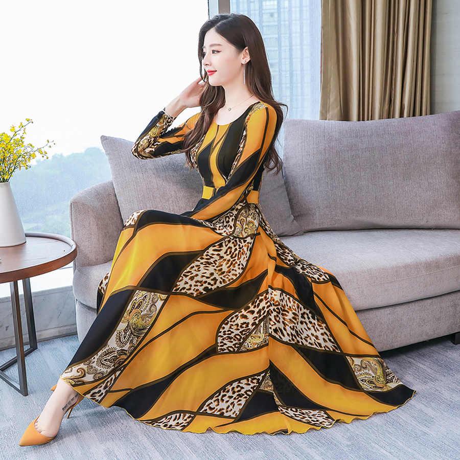 2019 בציר 3XL בתוספת גודל ארוך שרוול מקסי שמלות סתיו חורף הדפסת שיפון Midi שמלה אלגנטי נשים Bodycon המפלגה Vestidos