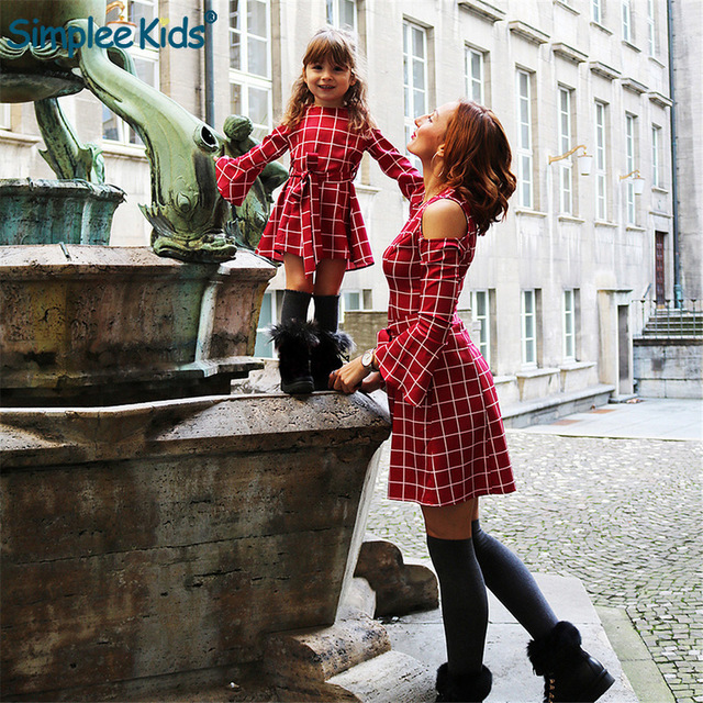 2019 New Mother Daughter Kids Girls Dresse Family Matching Clothes Plaid Long Sleeve Plaid Mom and Daughter Dresses Family Look
